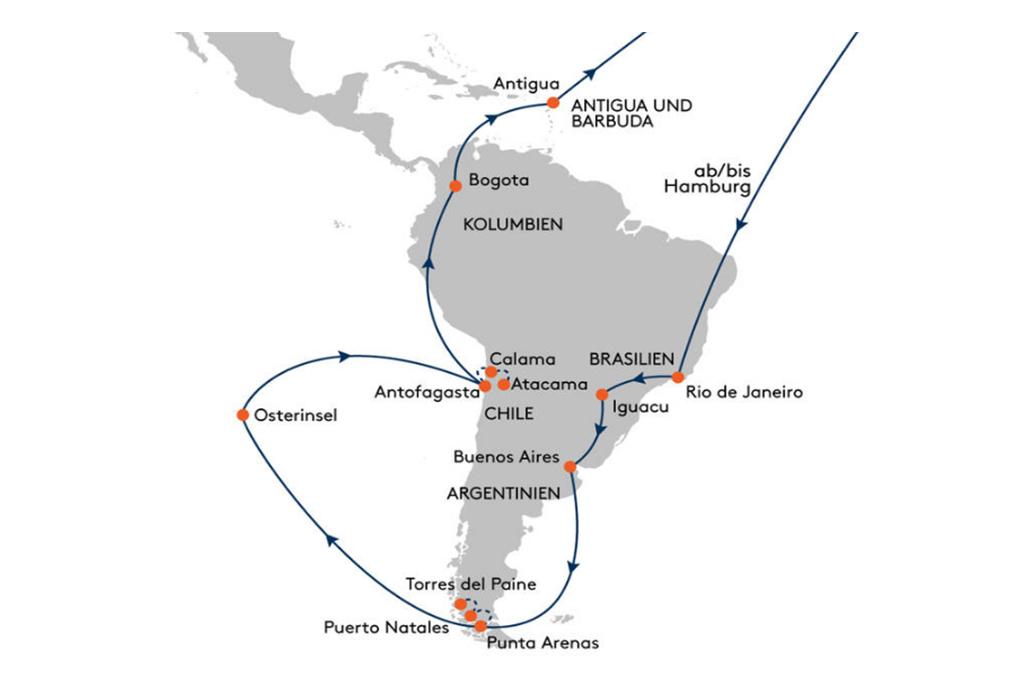 Kreuzflug Südamerika