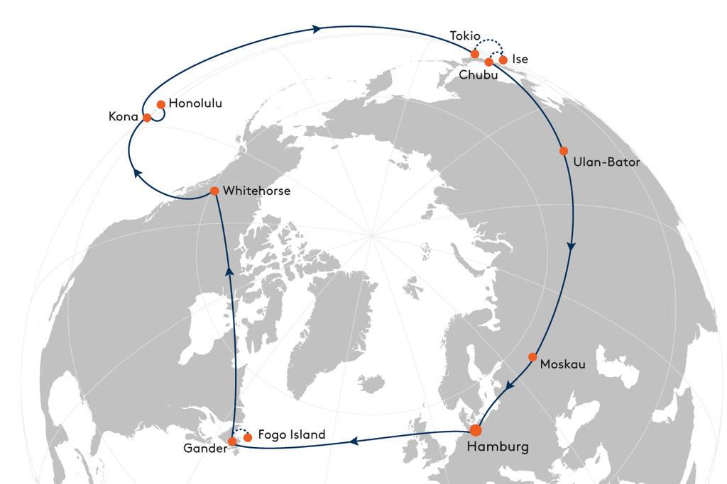 Route_Nordhalbkugel, Weltreise